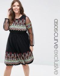 Сетчатое платье миди с вышивкой премиум-класса ASOS CURVE - Черный