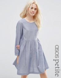 Платье из шамбре с присборенной юбкой и длинными рукавами ASOS PETITE