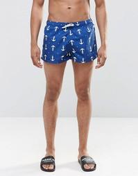 Короткие шорты с принтом якорь Swells - Темно-синий