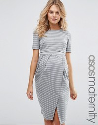Двуслойное платье для беременных в полоску ASOS Maternity - Полоски