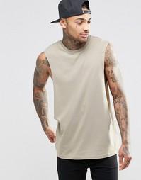Коричневая рубашка без рукавов с заниженными проймами ASOS