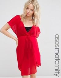 Шифоновая туника с запахом для беременных ASOS Maternity - Красный