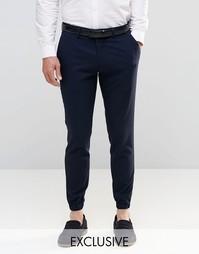 Зауженные брюки стретч с кромкой манжетом Only & Sons - Темно-синий