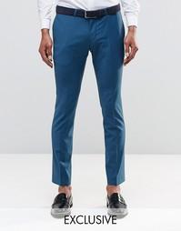 Стретчевые супероблегающие брюки Noose & Monkey - Сине-зеленый