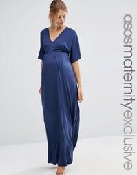 Платье-кимоно макси для беременных ASOS Maternity - Темно-синий