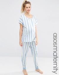 Пижамный комплект из топа и брюк в крупную полоску ASOS Maternity