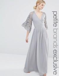 Плиссированное платье макси с кружевными рукавами и запахом Maya Petit