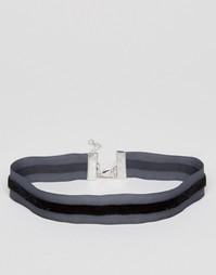 Ожерелье-чокер с бархатной полоской ASOS - Черный