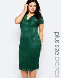 Кружевное платье с V-образным вырезом Goddiva Plus - Изумруд