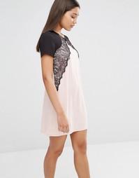 Платье мини с контрастным кружевом Lipsy