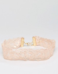 Кружевное классическое ожерелье‑чокер ASOS - Телесный
