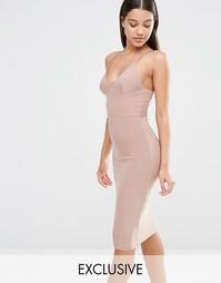 Платье миди на тонких бретельках Club L - Светлый серо-коричневый