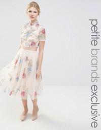Пышная юбка для выпускного с розами Maya Petite - Телесный