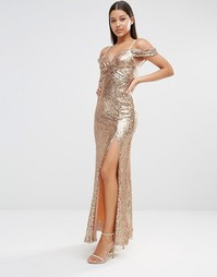 TFNC Cold Shoulder Sequin Maxi Dress - Розовое золото