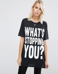 Oversize-футболка с принтом Whats Stopping You ASOS - Черный