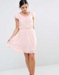 Короткое приталенное платье с завязкой спереди Pussycat London - Peach
