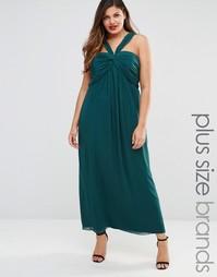 Платье макси размера плюс с присборенным лифом Junarose Mirka