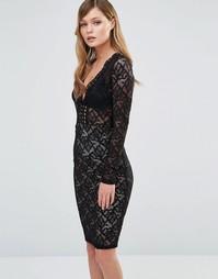 Кружевное платье миди с длинными рукавами и V-образным вырезом Dark Pi