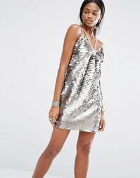 Платье с пайетками и отделкой лямками Missguided - Серебряный