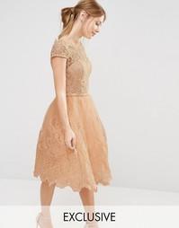 Кружевное платье миди для выпускного Chi Chi London Premium