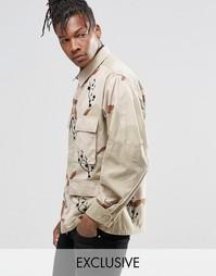 Камуфляжная куртка с принтом цветущей вишни Reclaimed Vintage - Stone
