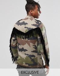 Куртка в стиле милитари с бахромой Reclaimed Vintage - Хаки