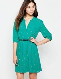 Платье с поясом, рукавами 3/4 и блестящим принтом жуков Yumi - Зеленый