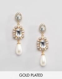 Серьги с жемчужными подвесками Johnny Loves Rosie Olivia - Gold pearl