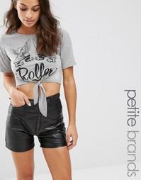 Укороченная футболка Boohoo Petite Roller - Серый