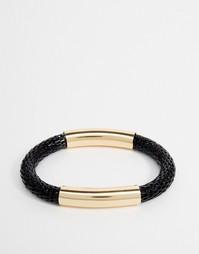 Плетеный браслет с металлической отделкой Designb - Черный