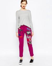 Розовые спортивные брюки с нашивками Love Moschino - Pi1