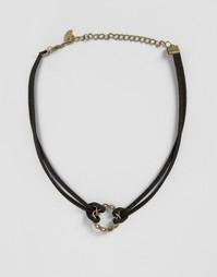Двойное ожерелье-чокер в замшевом стиле Reclaimed Vintage - Черный