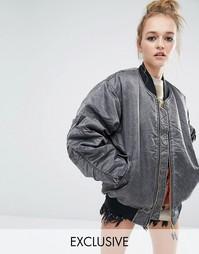 Куртка-пилот в стиле oversize с эффектом кислотной стирки Reclaimed Vi