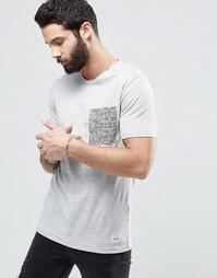 Футболка с принтом на кармане Only & Sons - Светло-серый меланж