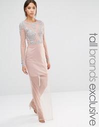 Сетчатое платье макси с декорированным лифом Maya Tall - Розовый