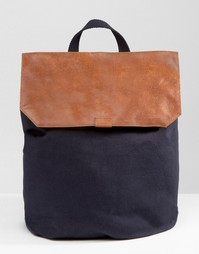 Холщовый рюкзак с кожаным верхом ASOS - Темно-синий