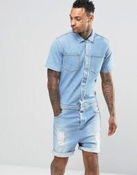 Светлый джинсовый комбинезон с прорехами ASOS - Выбеленный синий