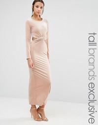 Бархатное платье макси True Decacende Tall - Blush