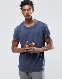 Мраморная футболка Selected Homme - Темно-синий