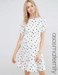 Свободное платье в горошек с оборкой по краю ASOS Maternity - Spot
