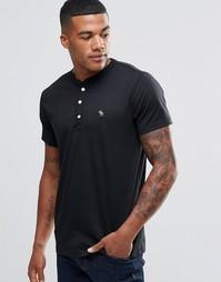 Черная облегающая футболка хенли Abercrombie & Fitch - Черный