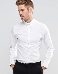 Строгая рубашка с воротником на пуговицах Selected Homme - Белый