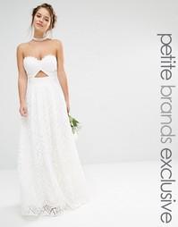 Платье макси бандо из кружева Jarlo Petite - Белый