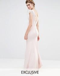 Платье макси с кружевными рукавами и пуговицами сзади Jarlo Wedding
