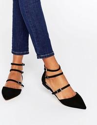 Туфли на плоской подошве с тремя ремешками Faith - Черный