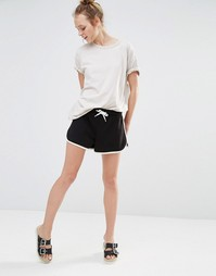 Monki Jersey Tipped Shorts - Черный