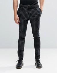 Супероблегающие эластичные брюки в клетку Religion - Черный
