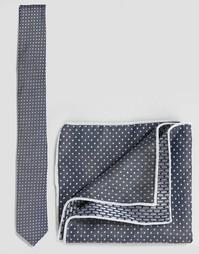 Галстук и платок-паше в горошек Minimum - Синий