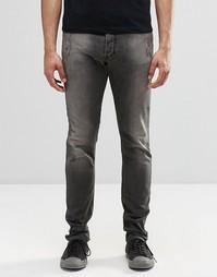 Серые джинсы скинни с декоративными повреждениями Ginger Fizz 674U DNA Diesel