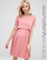 Двухслойное приталенное платье для беременных ASOS Maternity - Розовый